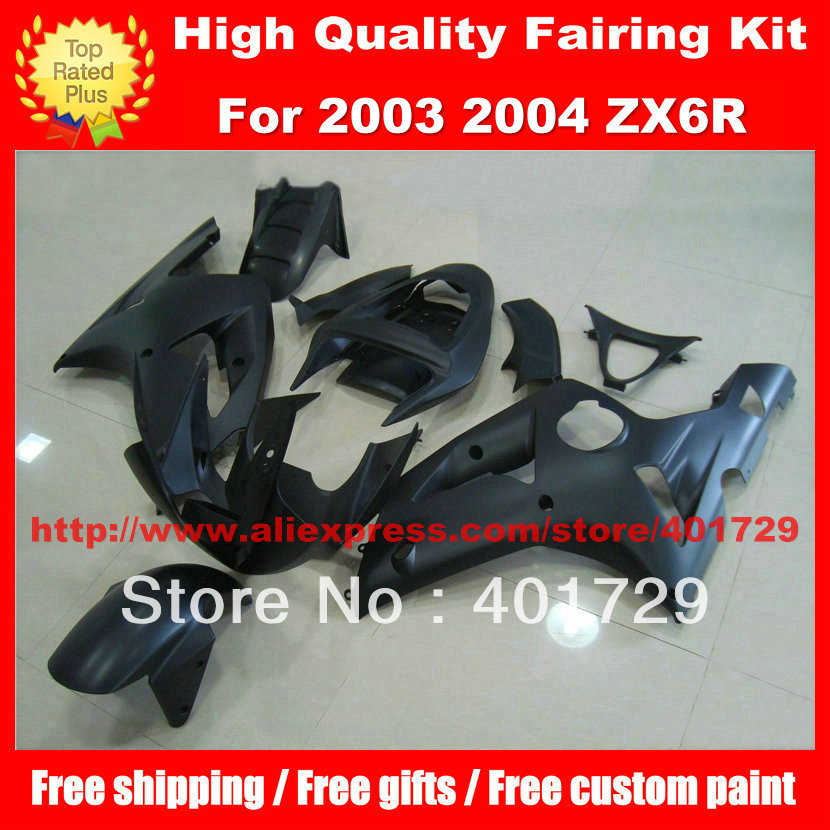 Free custom paint Motorcycle Parts for 2003 2004 Ninja ZX6R 03 04 ZX 6R ZX-6R flat black ABS Plastic fairing kit(China (Mainland))