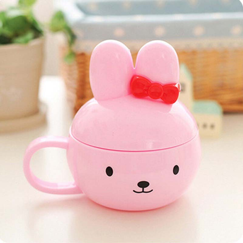 Kawaii Hello Kitty Rabbit Water Cup Cartoon Mug Kids Novelty Coffee Cups Milk Tea Mugs with Lid(China (Mainland))