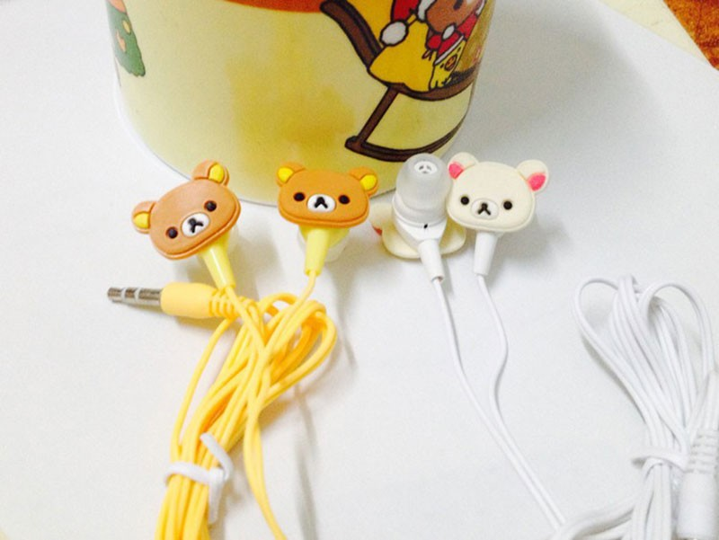 Cute Cartoon Rilakkuma Earphone 3.5mm Jack In-ear Earbuds Headset for iPhone Sumsang Mp3 MP4  fone de ouvido Gift for Child