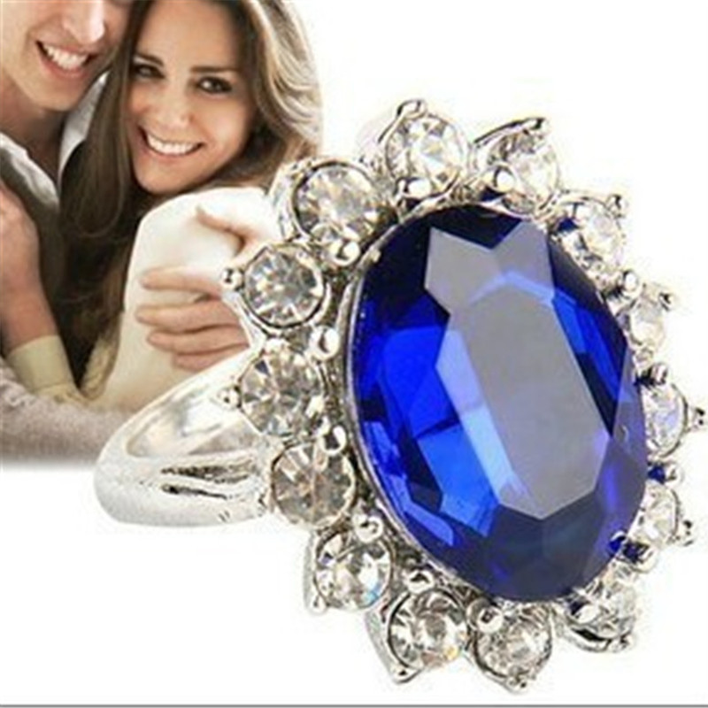 Top Quality Diana William Kate princess blue gem Wedding Finger Crystal Ring Brand Jewelry for Women jewelry White Gold Plated(China (Mainland))
