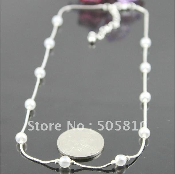 Whole sale - Free Shipping - VINTAGE NECKLACE Genuine Dress Up Silver White CHAIN LINK JEWELRY COLLECTIBLE 061