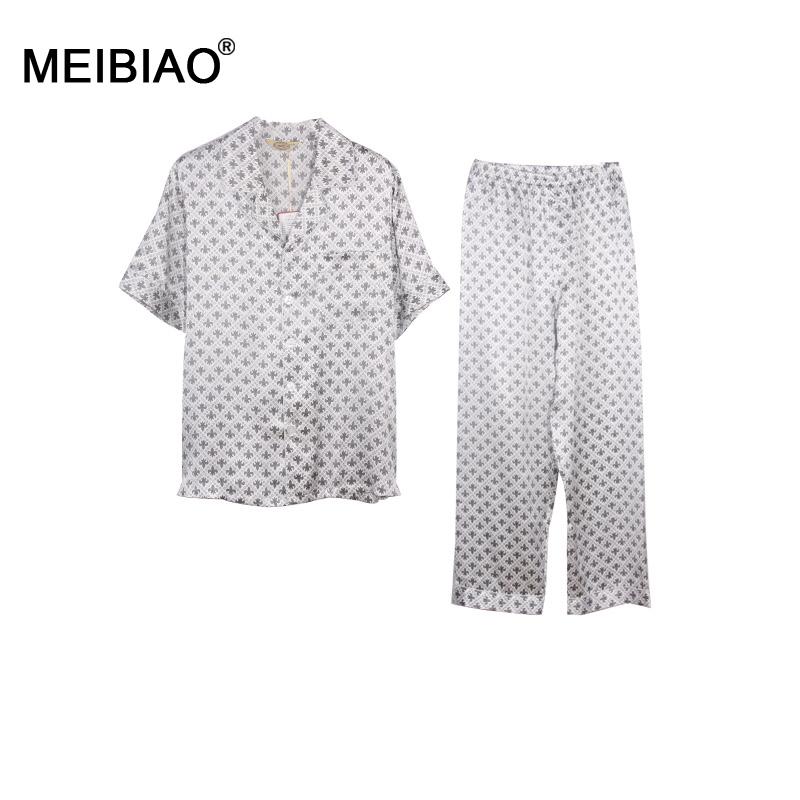 MEIBIAO-Top 10 Brands 100% Natural Silk Men Summer Turn-down Collar Pajamas Set Classic Sleepwear Silk Home Clothing3205300(China (Mainland))