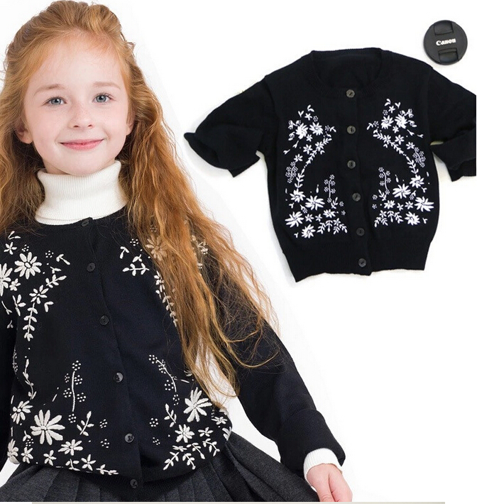 T-1503338 Wholesale 2015 Autumn Baby Girls Coats Girls Sweaters Solid Embroidery Flowers Girls Sweatercoats Lolita <br><br>Aliexpress