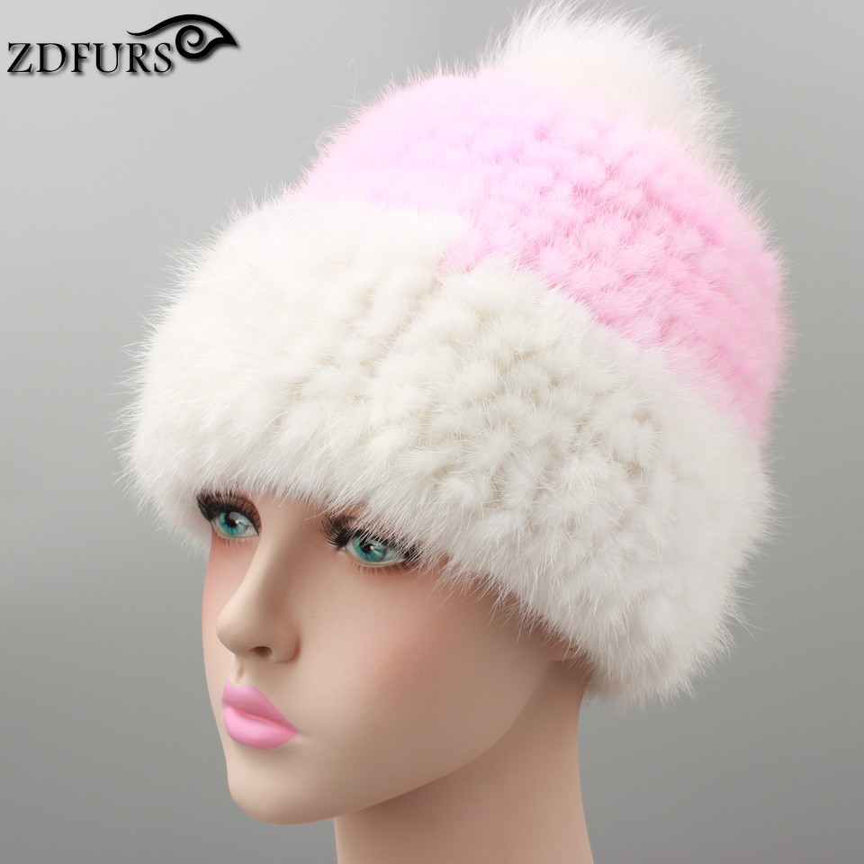 2016 Women's Fur Hats Real Fur Caps Snapback Large Fox Ball Thick Knitted Fur Hat Beanies Russian Style 3 Colors in Stock(China (Mainland))