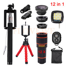 Buy Universal Clips 12in1 12x Zoom Telephoto Lentes 3in1 Fish eye Fisheye Lens Wide Angle Macro Lenses Cell Phone Mobile Tripod for $23.56 in AliExpress store