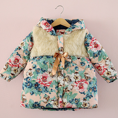 Fashion Girl Winter Coat Children Outerwear Fur Collar Hooded Kids Floral Thick Jacket Cotton Fabric Princess - sinlin dress store