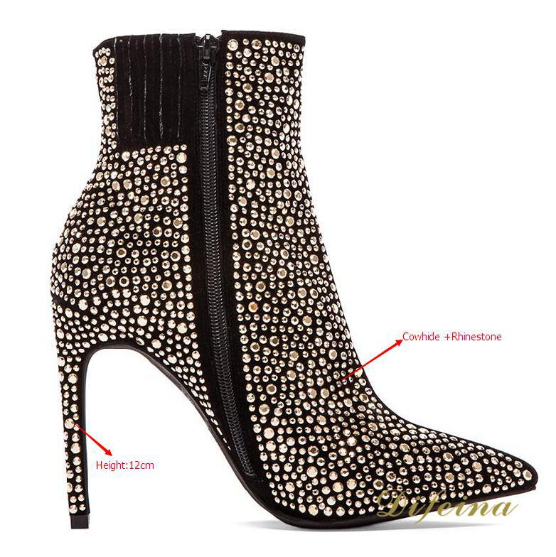Winter Boots Rhinestone Genuine Leather Women Fashion Boots Thin High Heels Zip Ankle Women Boots Pointed Toe Shoes Woman
