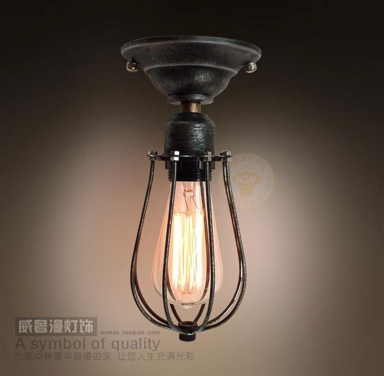 Vintage Industrial Wrought Iron Ceiling Lamp Retro Rustic Black Hanging Light Flush Mounted Cage Bulbs Guard edison Loft - QG-DECO store