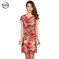 2016 Large Size 5XL Women Dress summer Print casual Chiffon Dress Plus Size Women Clothing 5XL