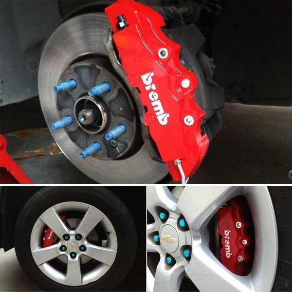 Universal Red Color Disc Brake Calipers Covers Kit 3D Brembo Style for Auto Front Rear Replacement
