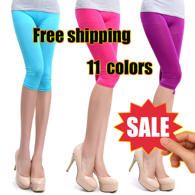 Summer fashion new Korean large yards lady pant ice silk female models candy-colored leggings
