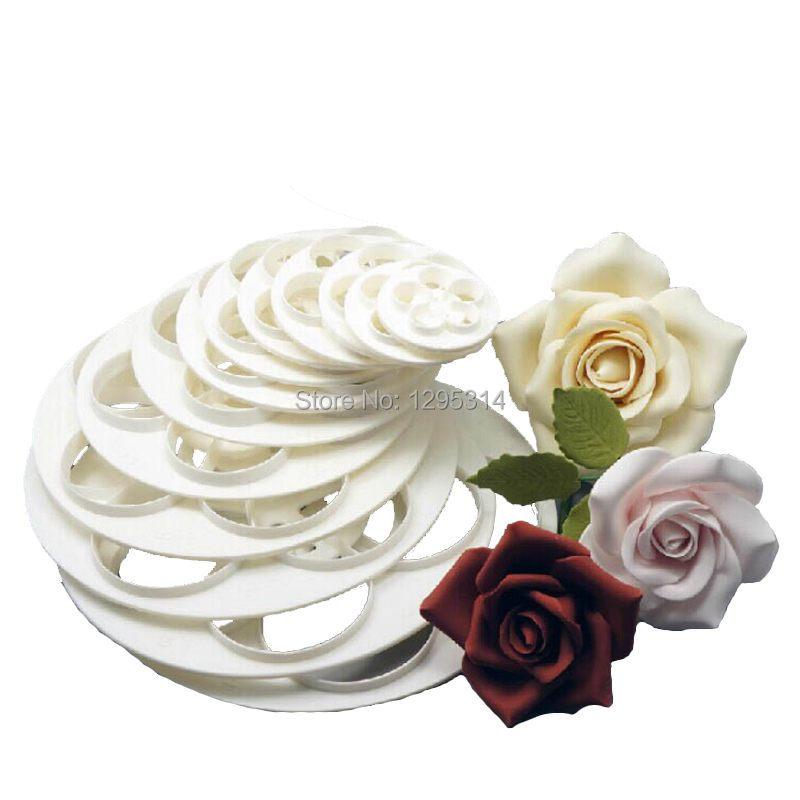 1Set/6PCS Free Shipping Fondant Cake Sugarcraft Rose Flower Decorating Cookie Mold Gum Paste Cutter Tool xTE(China (Mainland))