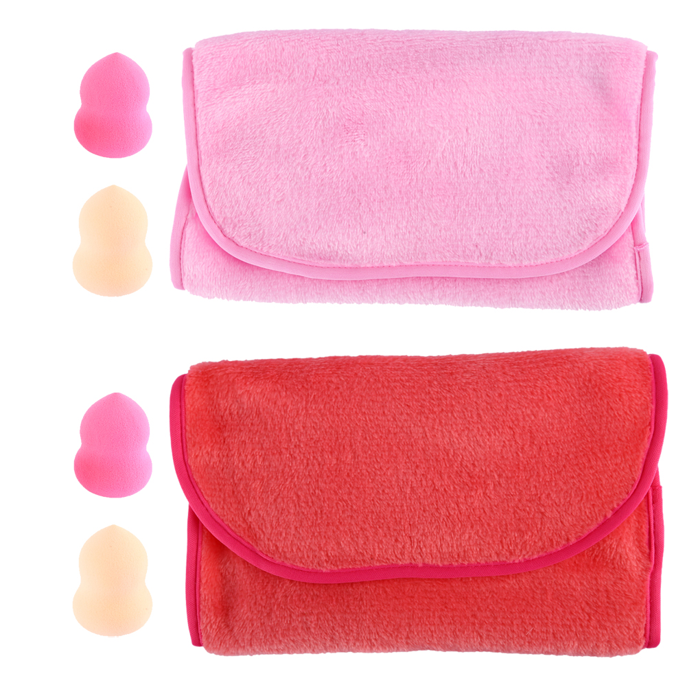 1x Magic Direct Cleansing Towel Makeup Remover Reusable Towel + 2x Gourd-Shaped Spone Puff(Random Color)