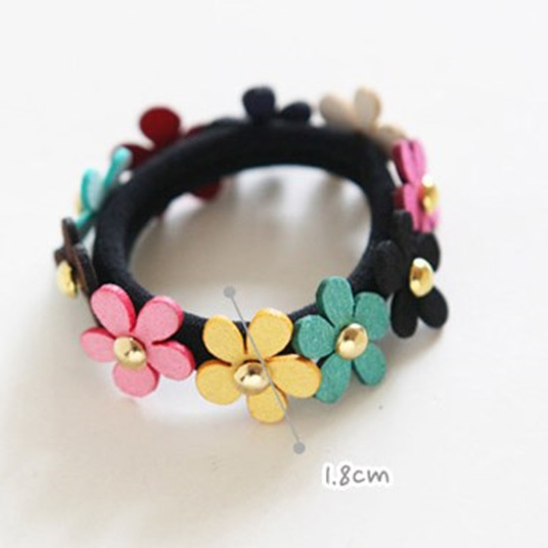 2016 New Arrival Girls Colorful Small Flower Headbands Rivet Hair Accessories Gum for Hair Women Elastic Hair Band(China (Mainland))