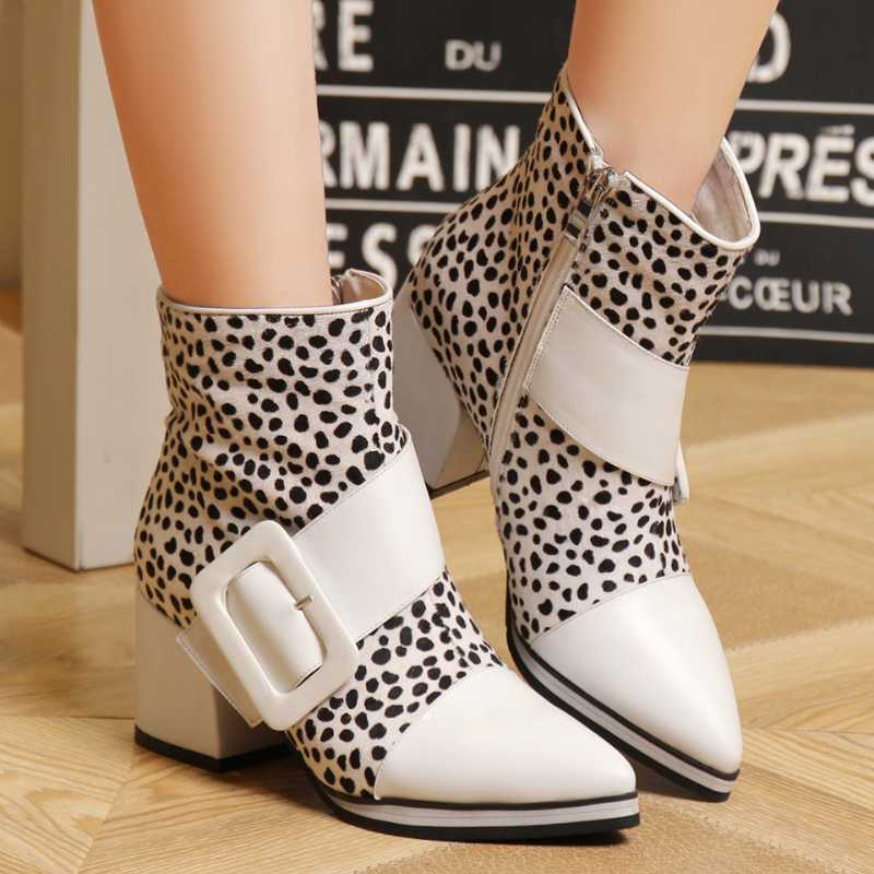 Фотография Sexy Leopard Pointed Belt Buckle Genuine Leather and PU Ankle Boots Side Zipper Platform Women