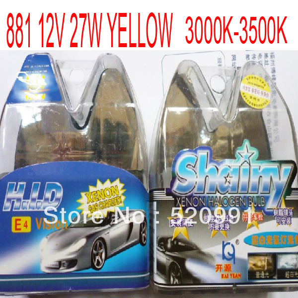 2 X 881 12V 27W Amber/Yellow HID Xenon Halogen Lamp 3000~3500K Free Shipping(China (Mainland))