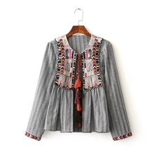 Buy Ethnic Striped Print Geometric Embroidery Shirt 2016 Strappy Tassel O neck Cardigan Blouse Tops blusas chemise femme blusa for $16.24 in AliExpress store