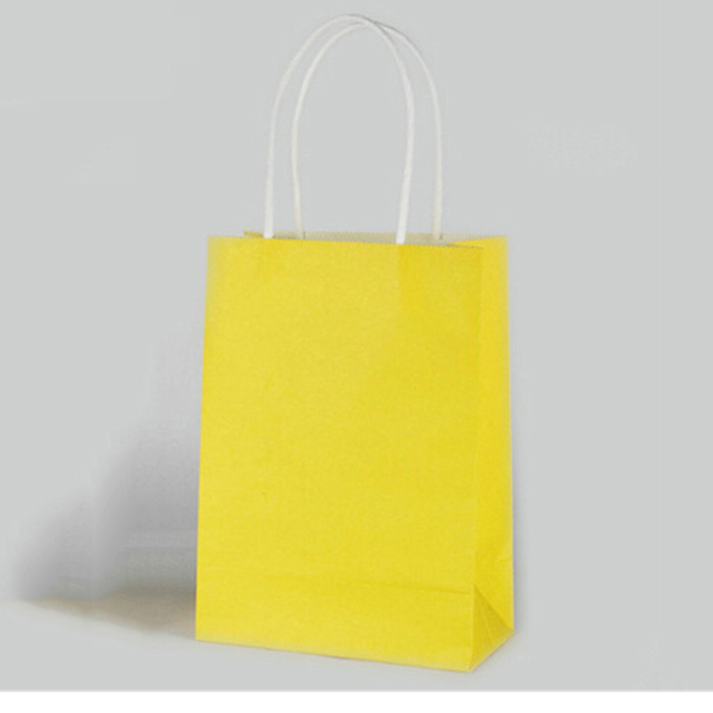 5Pcs Cute Party Bags Kraft Paper Gift Bag With Handles Recyclable Loot Bag(China (Mainland))