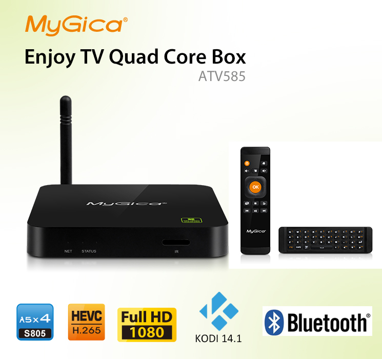 XBMC Fully Loaded ! Geniatech MyGica Amlogic M8 Quad Core Android 4.4 TV Box ATV585 Google Media Player Smart tv box(China (Mainland))