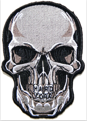 Skull Cross Patches Embroidery Customize Patches HARD CORE Skull Bike Iron on 7*7.6cm For T Shirt Jacket Hat ES28(China (Mainland))