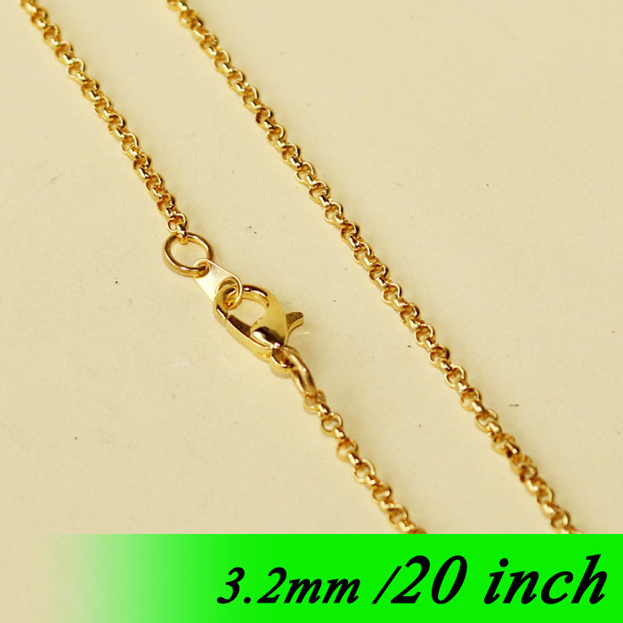 Gold Tone 20 For Metal Necklace Links Pendants With Lobster Clasps Connectors 3.2mm Circle Rolo Fashion Jewelry Chains Findings<br><br>Aliexpress