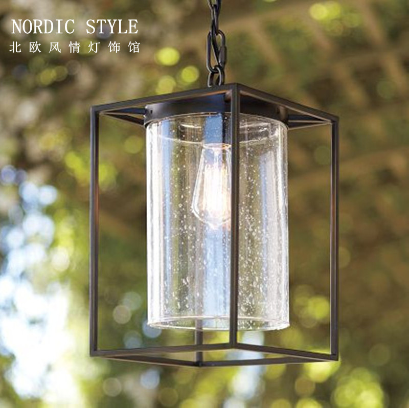American style pendant light antique iron glass pendant light balcony lamp entrance lights dining room pendant light(China (Mainland))