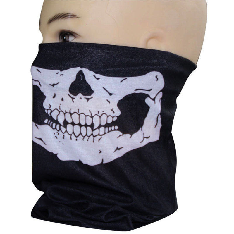 hot New fashion Skull Half Face Paintball Mask Scarf Bandana Skeleton Ski Motorcycle Biker Unisex Black