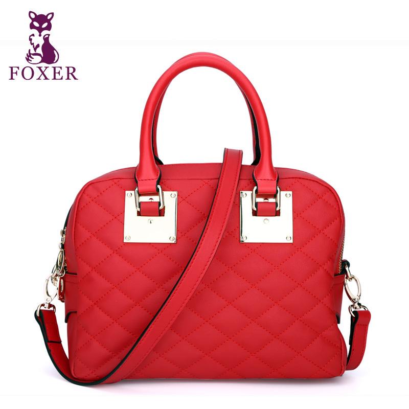 FOXER women shoulder bags 2015 genuine leather plaid tote ladies fashion messenger bag designer cowhide wristlets high quality<br><br>Aliexpress