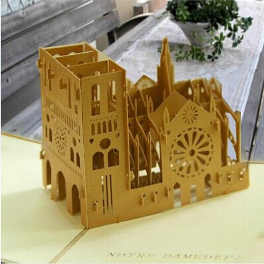free shipping 10pcs/lot Vintage Retro Notre Dame DE PARIS greeting cards, Pop up cards, 3D cards paper craft cards(China (Mainland))