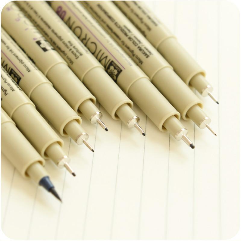 9Pcs Sakura Pigma Micron Neelde Soft Brush Portable Drawing Pen Sketch Pens Hook Line Pen Painting Pen Free Shipping(China (Mainland))