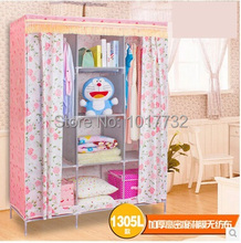 New 130*45*172cm Pink Thicken high density film non-woven fabric 8 frame folding wardrobe bedroom furniture closet for clothes(China (Mainland))