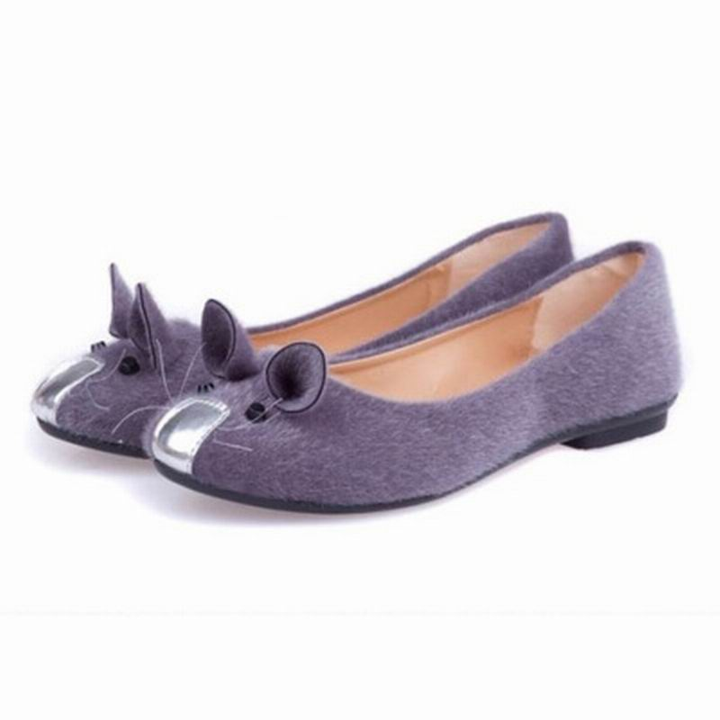 Hot-Selling 4 Colors 2016 Spring Flats for Women Single Shoes Cute Mouse Flat Heel Women's Flats Fashion Free Shipping(China (Mainland))