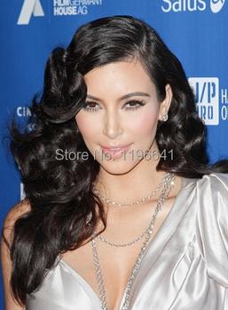 Kim kardahsian long Black wavy remy hair Glueless full lace wigs