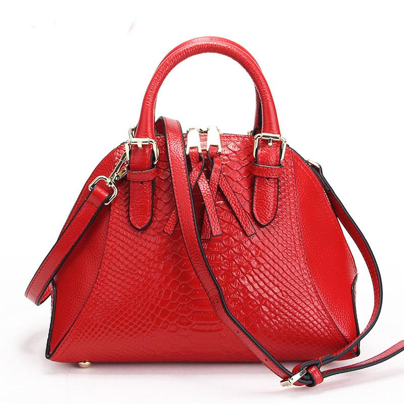 Serpentine Women Handbag Messenger Bags Bolsas De Couro Shell Shaped Shoulder Bag Tote Genuine Leather Bolsas Femininas RD-024<br><br>Aliexpress