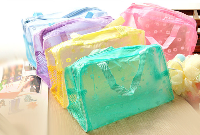 2015 New Fashion Women Girl Hot Floral Print Transparent Waterproof Cosmetic Bag Toiletry Bathing Pouch Cai0616(China (Mainland))