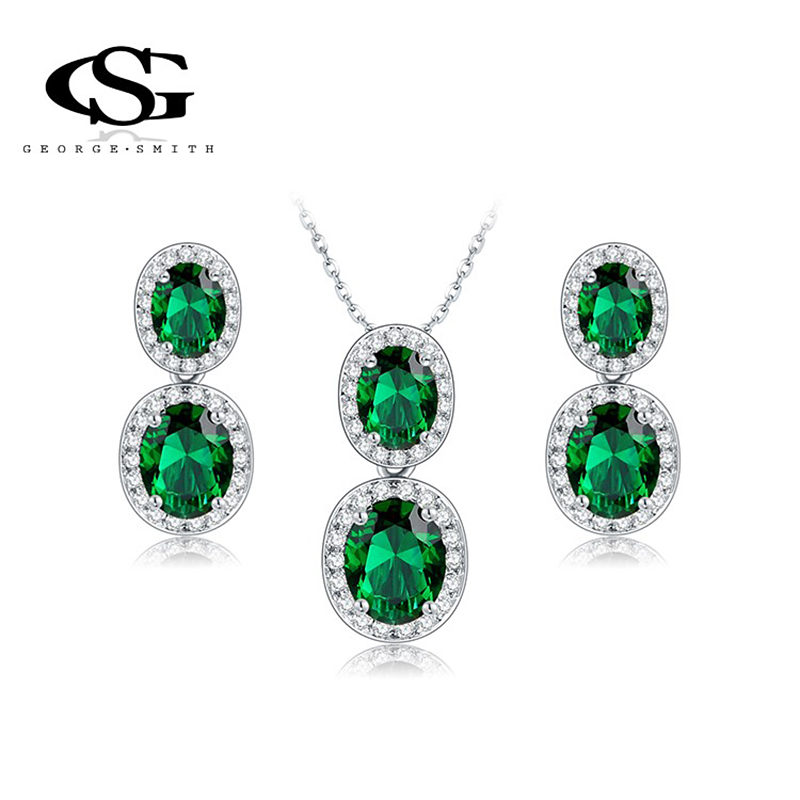 George smith Brand Exquisite Green Drop women Necklace Platinum Plated CZ Diamonds Fashion decoration ladies Jewelry Set(China (Mainland))