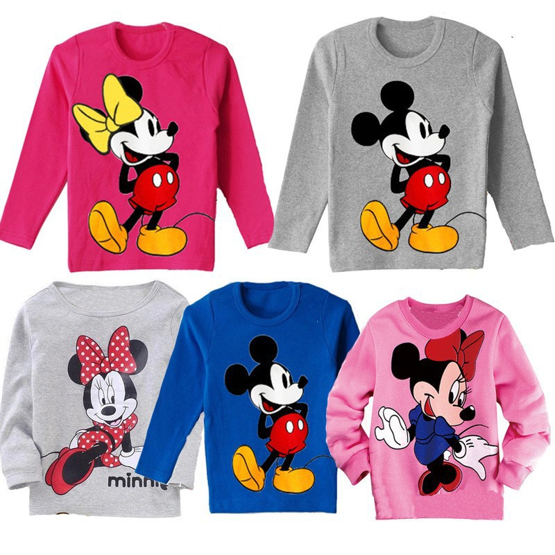 2015 fashion kids casual wear childrens clothing summer baby boys gilrs cotton cartoon mickey minnie long sleeve t-shirt(China (Mainland))