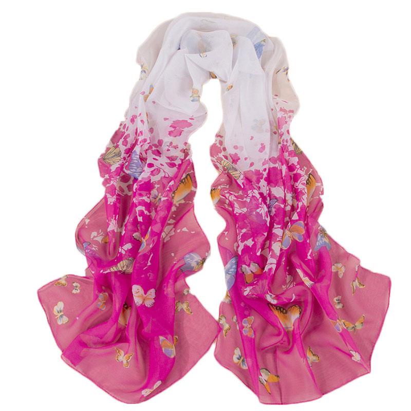 Women Chiffon Fashion Chic Stylish Floral Butterfly Sexy Sunblock Casual Beautiful Wrap Pashmina Poncho Scarf(China (Mainland))