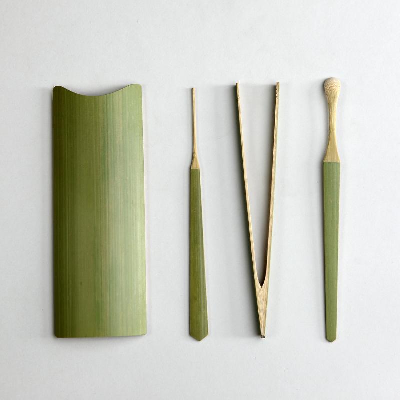 Natural qualities of bamboo carbonization Sijunzi tea ceremony clip needle tea is tea teaspoon tea with zero<br>