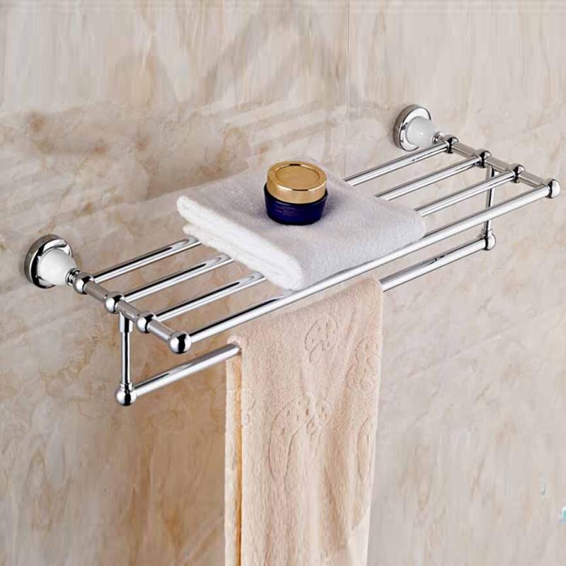 Buy Polished New Chrome Brass Bathroom Towel Rack Holder Towel Bar Hanger White