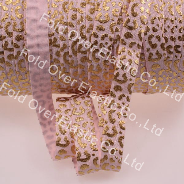 """5/8"""" gold foil leopard printed elastic band, high quality fold over elastic ribbon #117-Lt.Pink, 100yards/roll(China (Mainland))"""