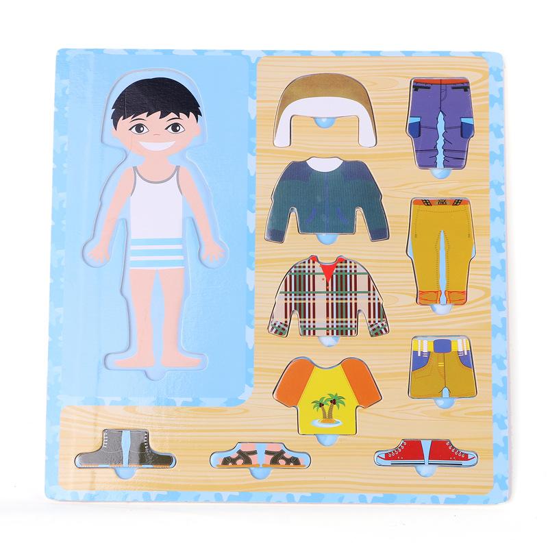 Baby Toys Boy/Girl Dress Changing Puzzle Set Wooden Toys Child Eduactional Dressing Jigsawv Puzzle Baby Birthday Gift(China (Mainland))