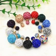 Nuovo design monili di marca di modo doppia imitazione perla orecchini per le donne branelli di cristallo di shamballa degli orecchini della privacy(China (Mainland))