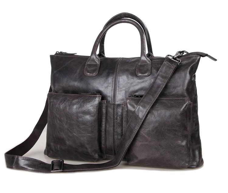 Genuine leather men bag men's briefcase laptop bags men's travel bag men shoulder bags business oil wax handbag free shipping(China (Mainland))