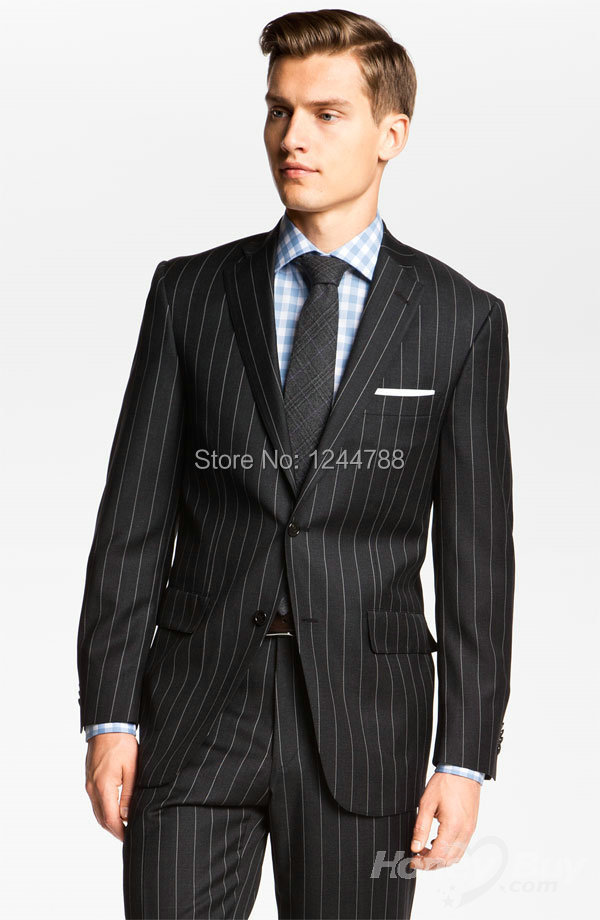 Custom Made! Good Quality chic Black With White Pinstripe Wool Men Business Suit Style(Jacket+Pants+Tie)(China (Mainland))