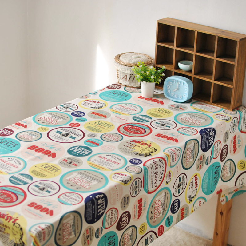 American country style cartoon characters linen tablecloths cover coffee table towel bar home(China (Mainland))
