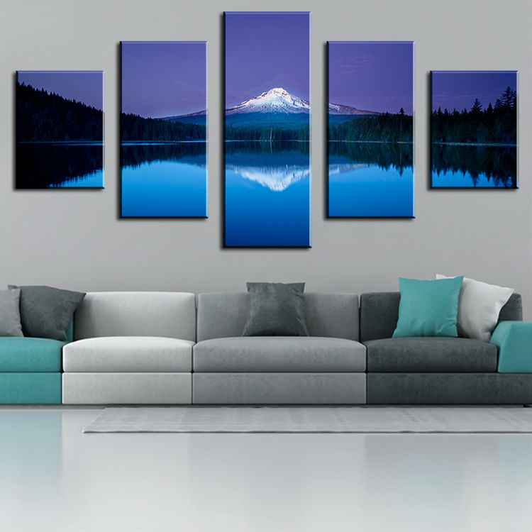 5 Piece mountain lake reflection Modern Home Wall Decor Canvas Picture Art Print Wall Painting cuadros decorativos(China (Mainland))