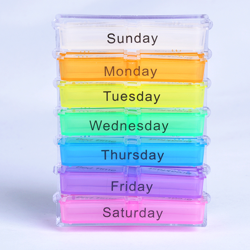 Hot Sale Medicine Weekly Storage Pill 7 Day Tablet Sorter Box Container Case Organizer Health Care Pill Box