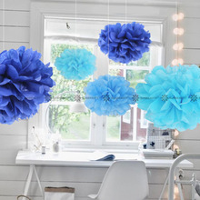 Buy 5pc Blue Shade (navy blue,turqoise blue,light blue) 15cm Tissue Paper Pom Poms Flower Balls Hanging Decor Party Birthday Wedding for $2.60 in AliExpress store