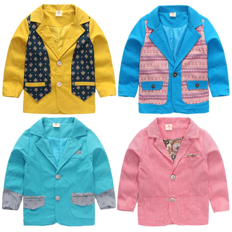 Blazer 2016 spring and autumn boys child single breasted casual blazer multi-pattern slim top baby boys blazer(China (Mainland))